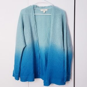 Forever 21 Blue Ombre Fuzzy Cardigan